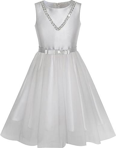 Sunny Fashion Vestido para niña Plata Gris Corbata de moño ...
