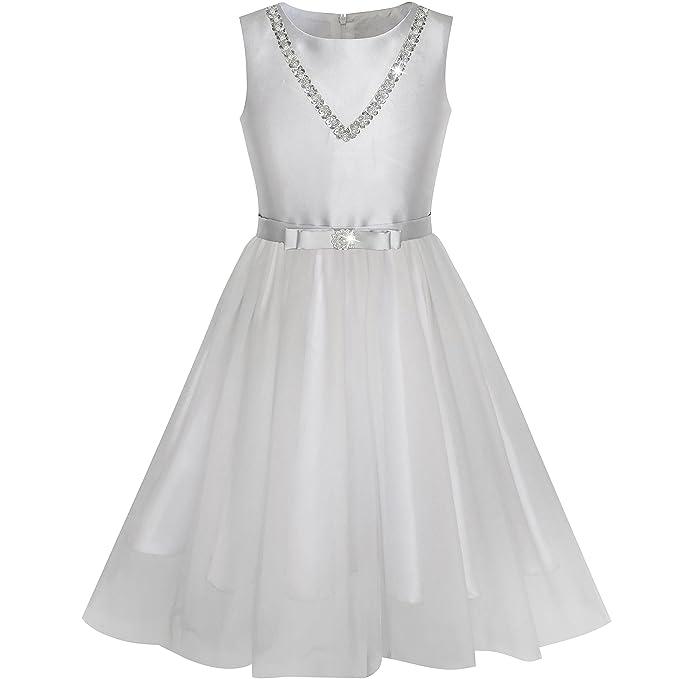 LF94 Sunny Fashion Vestido para niña Plata Color gris Bow Corbata Lentejuela Fiesta Princesa 10 años
