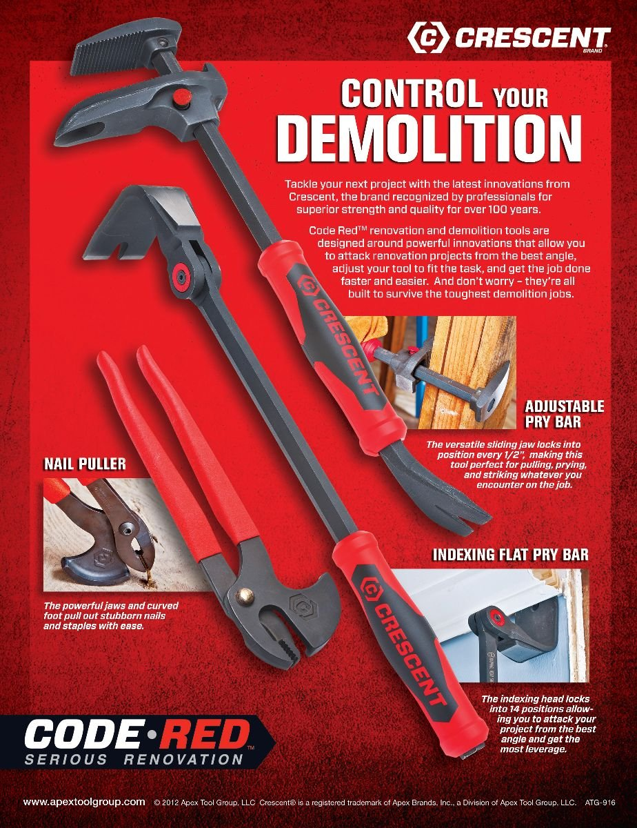 Crescent DB16 16-Inch Adjustable Pry Bar, Nail Puller, Red/Black by Apex Tool Group (Image #2)
