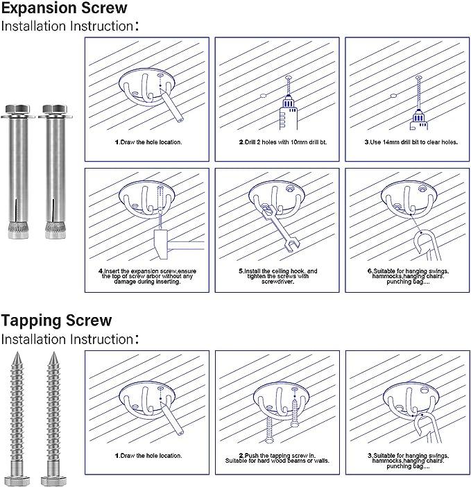 Toomett Soporte de pared para correas de suspensión. Entrenador de resistencia - Anillas anclaje para montaje en pared y techo, sistemas de ...