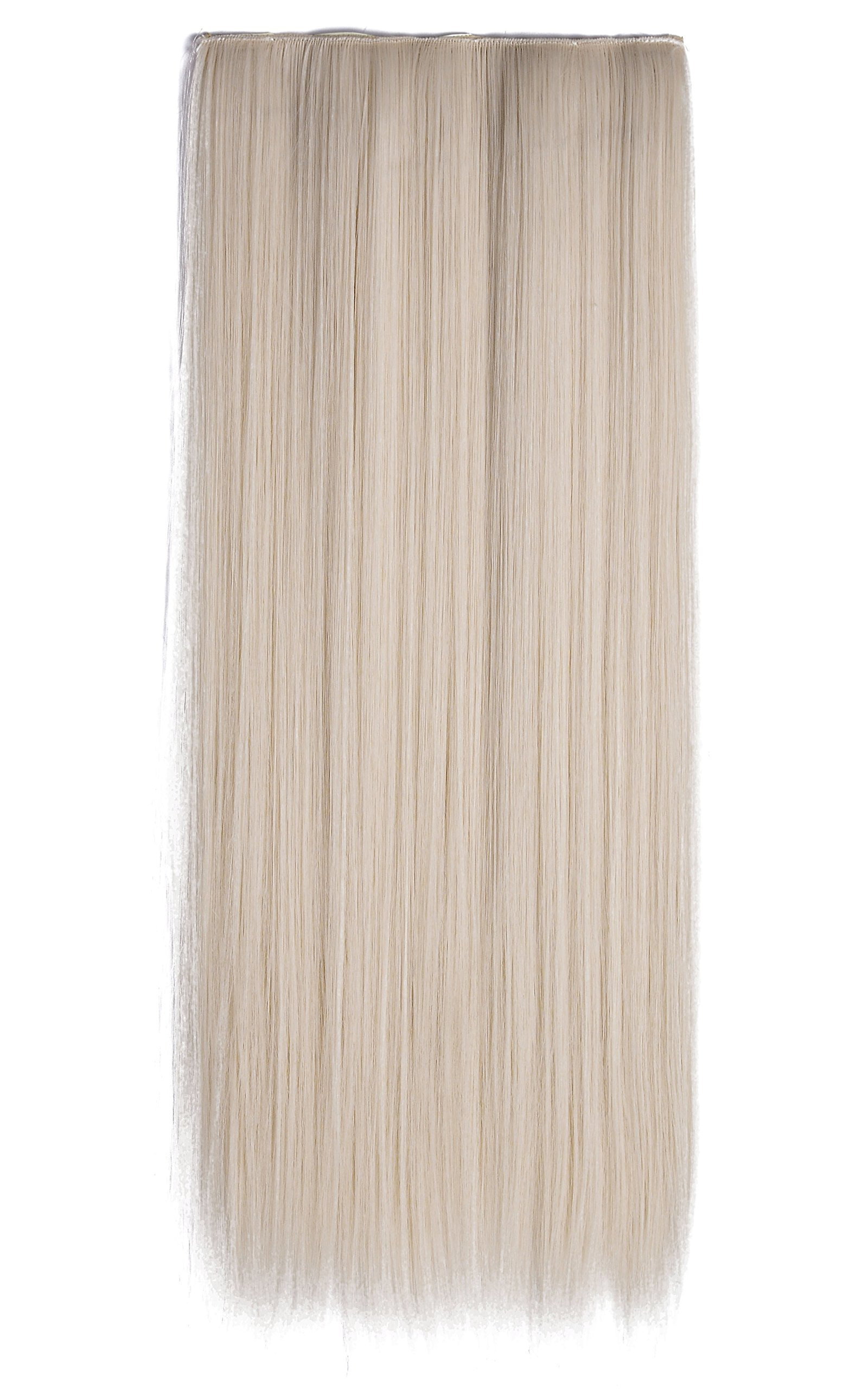 Onedor 24'' Straight 3/4 Full Head Synthetic Hair Extensions Clip-on Clip-in Hairpieces (60#-platinum Blonde)