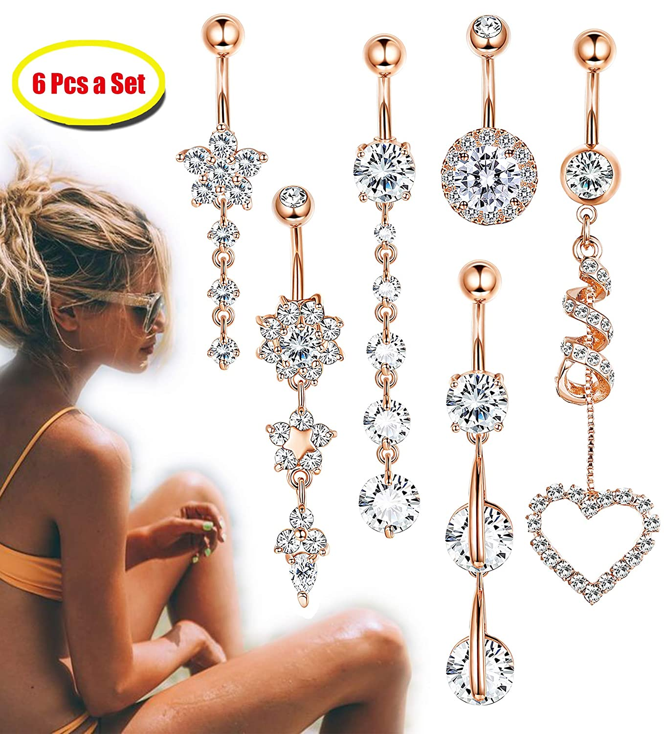 FIBO STEEL 6 Pcs 14G Stainless Steel Dangle Belly Button Rings Navel Barbell Body Jewelry Piercing