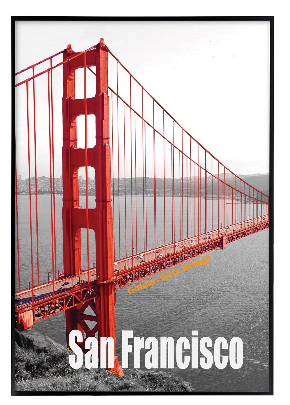Frametory, 13X19 Poster Frame, Pre-Assembled Black Metal Aluminum, Golden Gate Bridge Gallery Edition (Metal, 13x19)