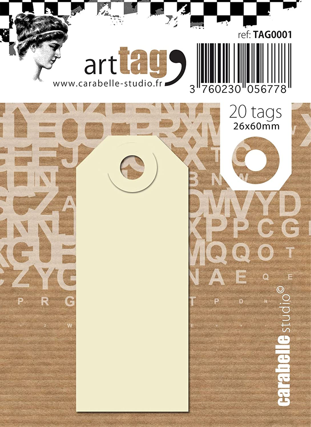 Carabelle Studio Craft Paper Tag, White/Beige, 26 x 60 mm, 20-Piece TAG0001