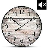 Cander Berlin MNU 7330 Vintage Wanduhr aus MDF mit lautlosem Uhrwerk - 30,5 cm Ø - kein nerviges Ticken