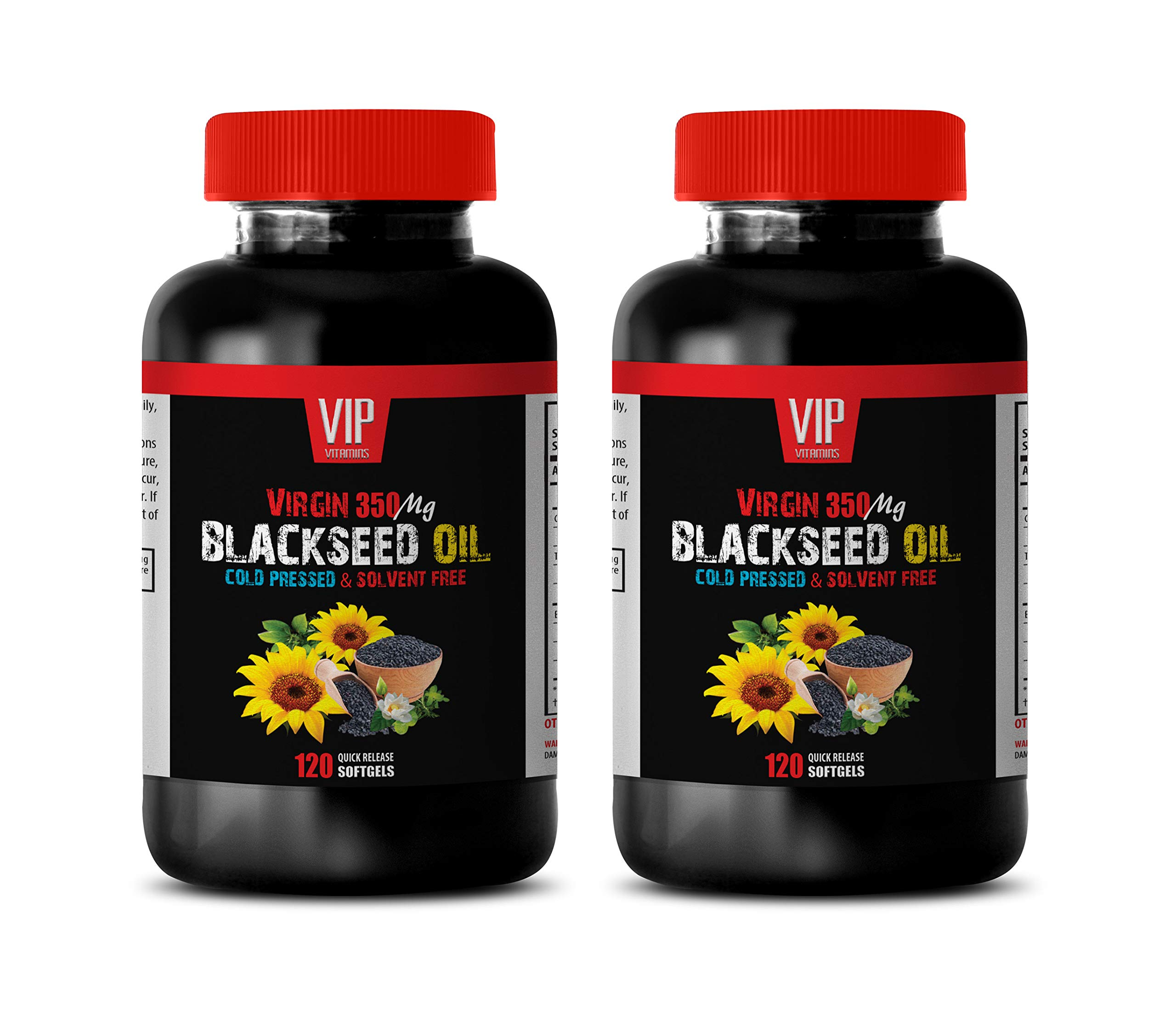 antioxidant Supplements for Men - Black Seed Oil Virgin 350 MG - Black Seed Oil Skin Care - 2 Bottles 240 Softgels by VIP VITAMINS