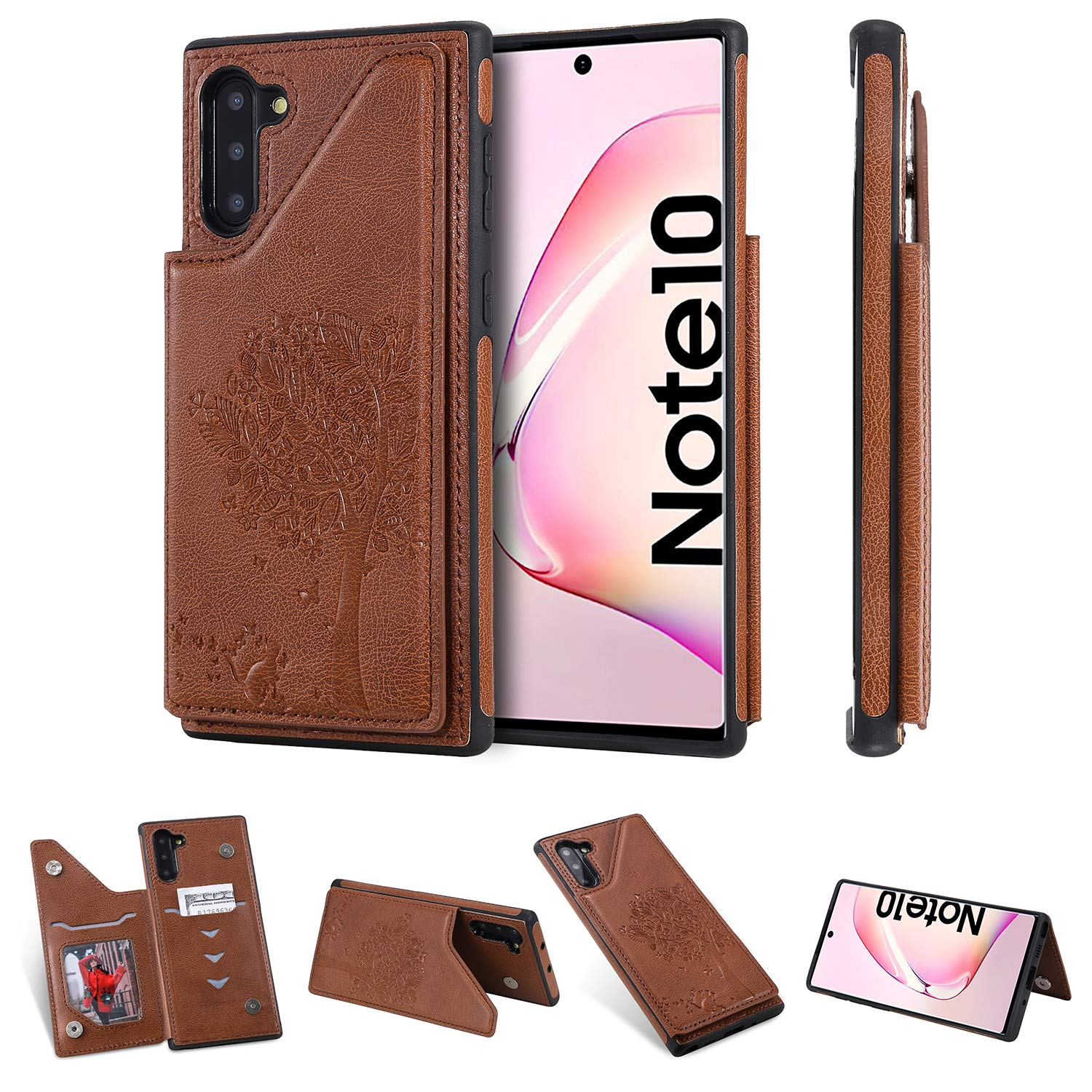 Tznzxm Galaxy Note 10 Case,Fashion Tree Cat Design PU Leather Kickstand Card Slots Double Magnetic Clasp Durable Shockproof Soft TPU Back Wallet Flip Cover for Samsung Galaxy Note 10 Brown by Tznzxm