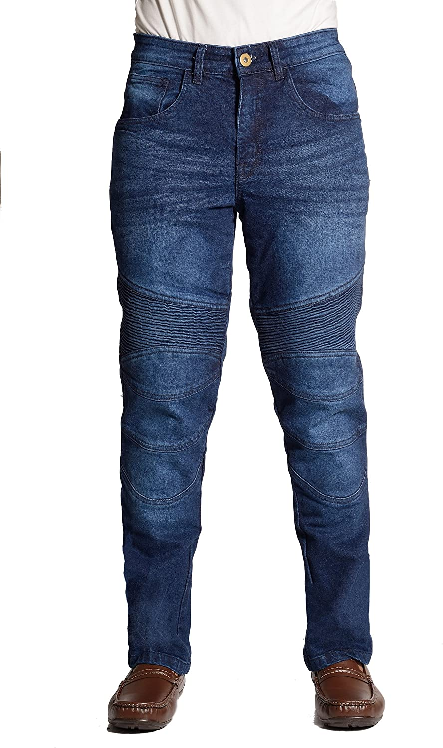 EVOQE Estrada Motorcycle Jeans Mens Motorbike jeans Armoured Trouser Removable Armour CE Blue