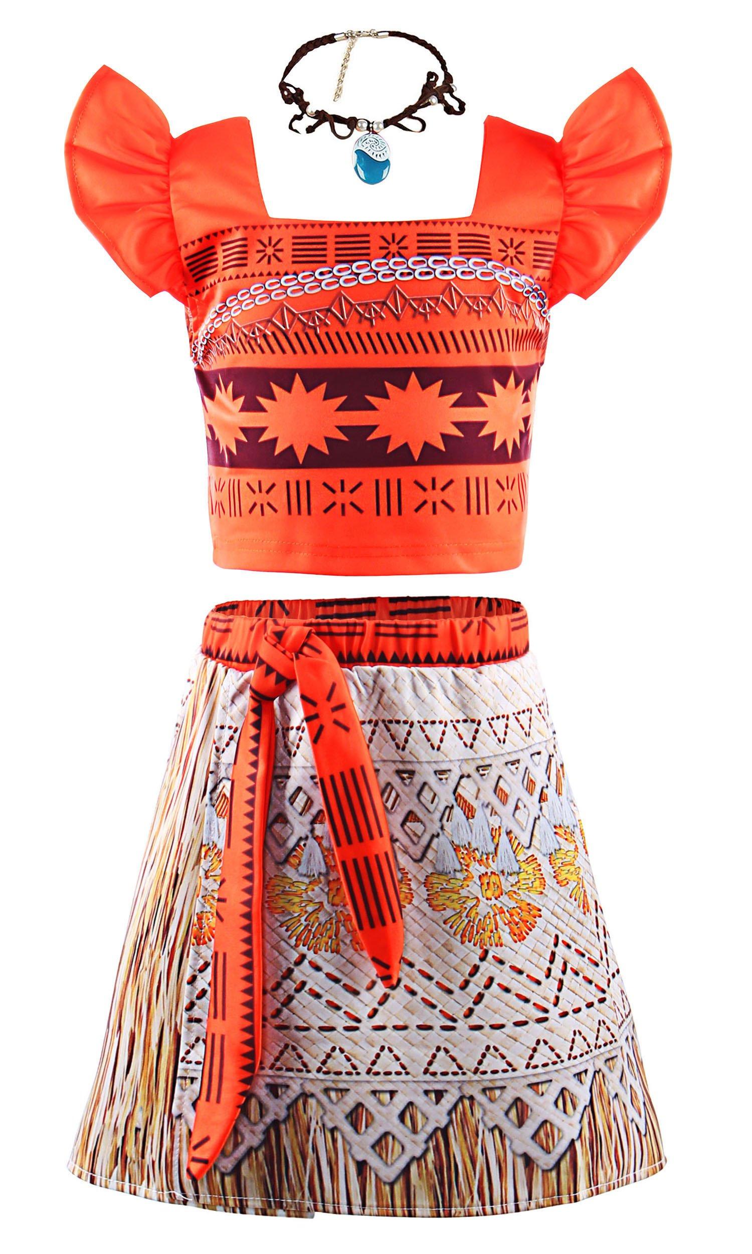 JerrisApparel Princess Moana Costume Two-Piece Skirt Set Dress up for Girls (5-6, Orange)