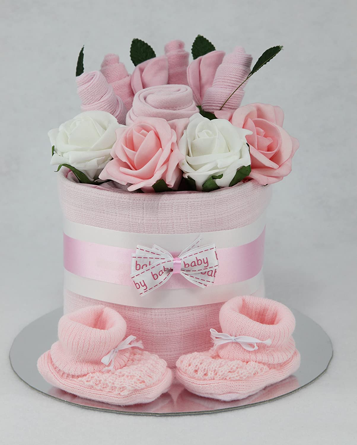 Baby Girl Clothes Flower Bouquet Nappy Cake New Born Baby Shower Gift Tiny Togs Ltd