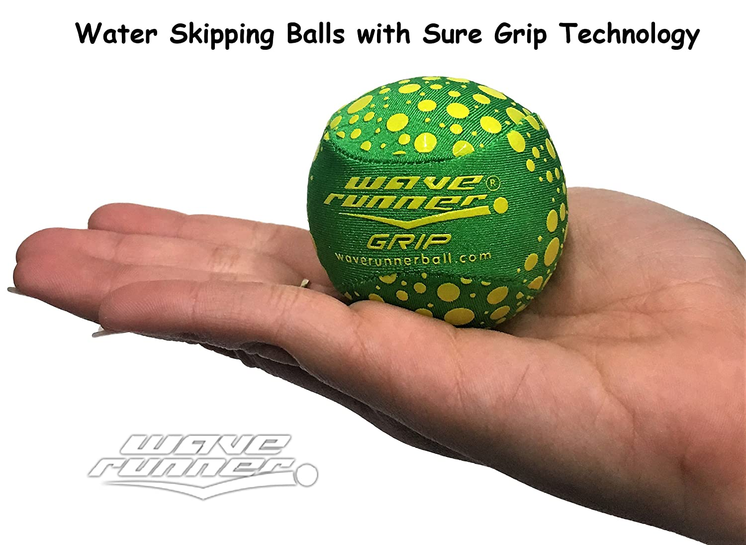 Wave Runner Water Runner Grip Ball Water Skipping Ball with Sure Grip Technology Great for Kids Boys Girls Ball Bounces On Water Small Size Water Toys Green ...