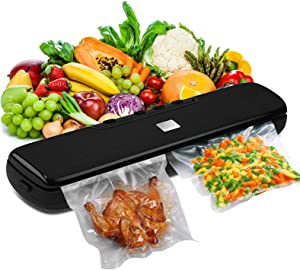 Covoi Vacuum Sealer Machine - Automatic Food Sealer with 15 Vacuum Sealer Bags for Food Saver,Dry Moist Point Outer Seal Five Preservation Modes Food Vacuum Sealer for Meat Fish Fruits Vegetables Cookies Snacks