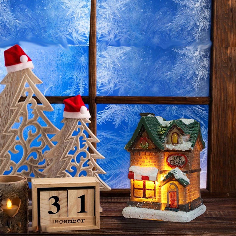 Christmas Decoration Light-Up Battery-Operated Snow Village Christmasfor Kids Christmas Toys Christmas House Figurines LED Miniature Landscape Winter Snow Christmas Village Building Santa Hous