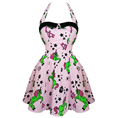 239001b27d16 Hell Bunny I Heart Zombies Pink Unicorn Pastel Punk Goth Psychobilly Mini  Dress22 4XL: Amazon.co.uk: Clothing