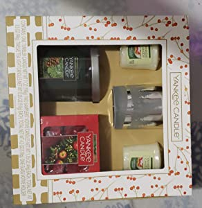 Yankee Candle Holiday Flicker Forest Gift Set with a Balsam and Cedar Tumbler, 12 Red Apple Wreath Tea Lights, 2 Christmas Cookie Votives with a Flicker Forest Votive Holder
