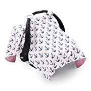 Navy Blue Anchor Infant Girl Car Seat Canopy Cover by The Peanut Shell