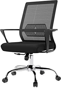 Henry Parker Ergonomic Home Office Chair, Comfortable Mesh Lumbar Support, Recline Swivel Height Adjust Functions with Sturdy Chrome Base