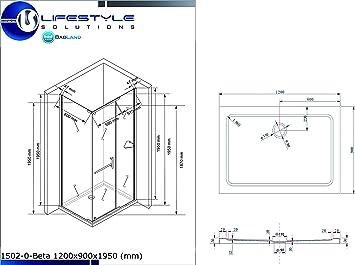 Cabina de ducha mampara de hefesto (vidrio esmerilado) 120 x 90 x ...