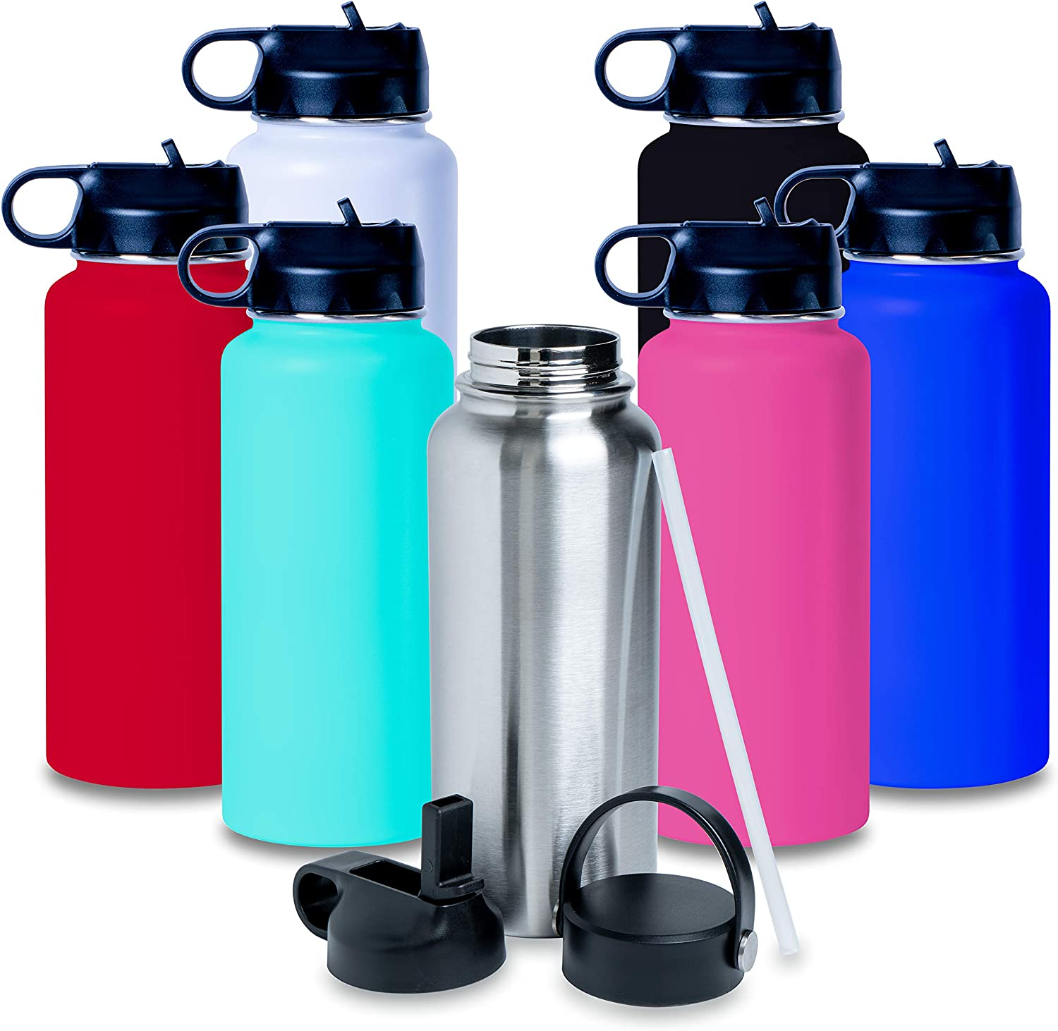 Amazon Com Bulk 32oz Hydro Bottle Vacuum Sealed Double Walled Stainless Steel Powder Coated Flask Style Bottle With 2 Lids And A Straw Able To Be Engraved And Customized Easily Black Sports Outdoors