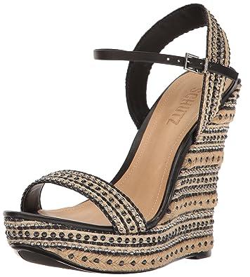 5af5859ec4 Amazon.com: SCHUTZ Women's Carminda Wedge Sandal, Natural Black, 9 M ...