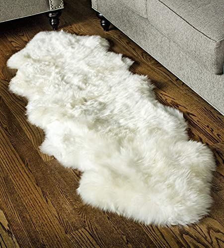 Super Area Rugs, Genuine Australian Sheepskin Rug Two Pelt Ivory Natural Fur, 2×6 Double
