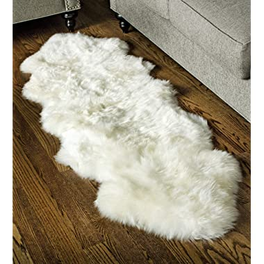 Super Area Rugs, Genuine Australian Sheepskin Rug Two Pelt Ivory Natural Fur, 2x6 Double