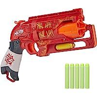 NERF Zombie Strike Hammershot Blaster -- Pull-Back Hammer-Blasting Action, 5 Official Zombie Strike Darts -- Red Color…