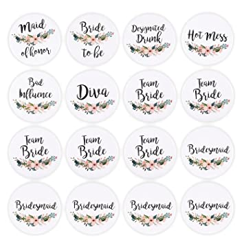 Amazoncom 16 Pack Bridal Party Pins Wedding Party Buttons