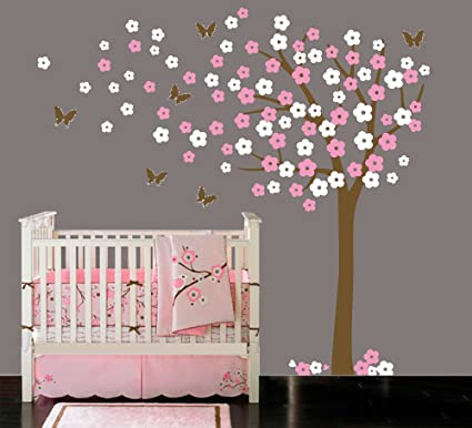 Amazon luckkyy large blooming white and pink flowers tree with luckkyy large blooming white and pink flowers tree with birds wall decals wall sticks for nursery mightylinksfo