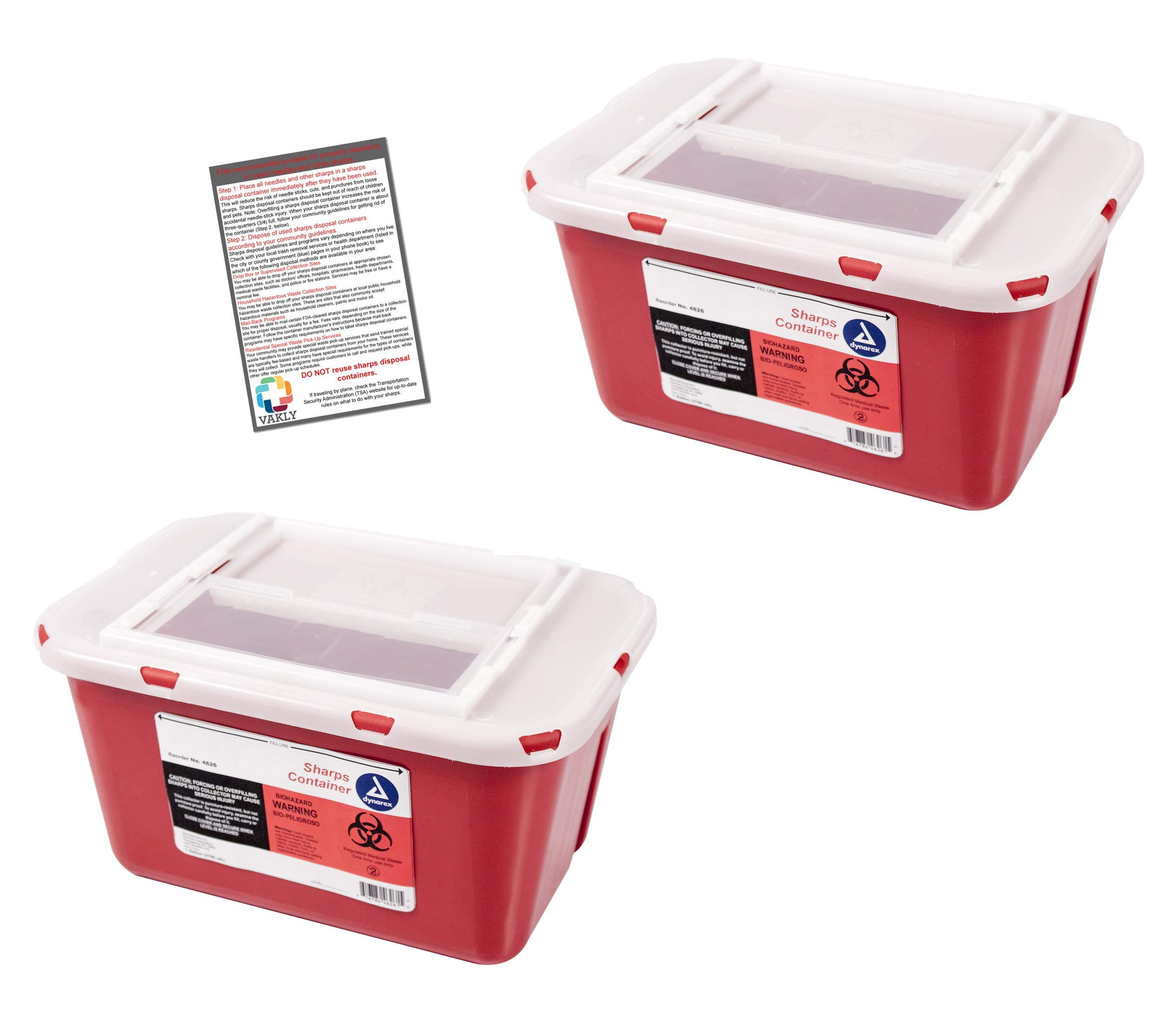 Sharps Container 1 Gallon - Plus Vakly Biohazard Disposal Guide (2 Pack)