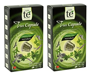 20 Nespresso Compatible Tea Pods - Marrakech Green Tea, 2 Boxes - 10 Pods /