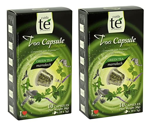 20 Nespresso Compatible Tea Pods - Marrakech Green Tea, 2 Boxes - 10 Pods / Box