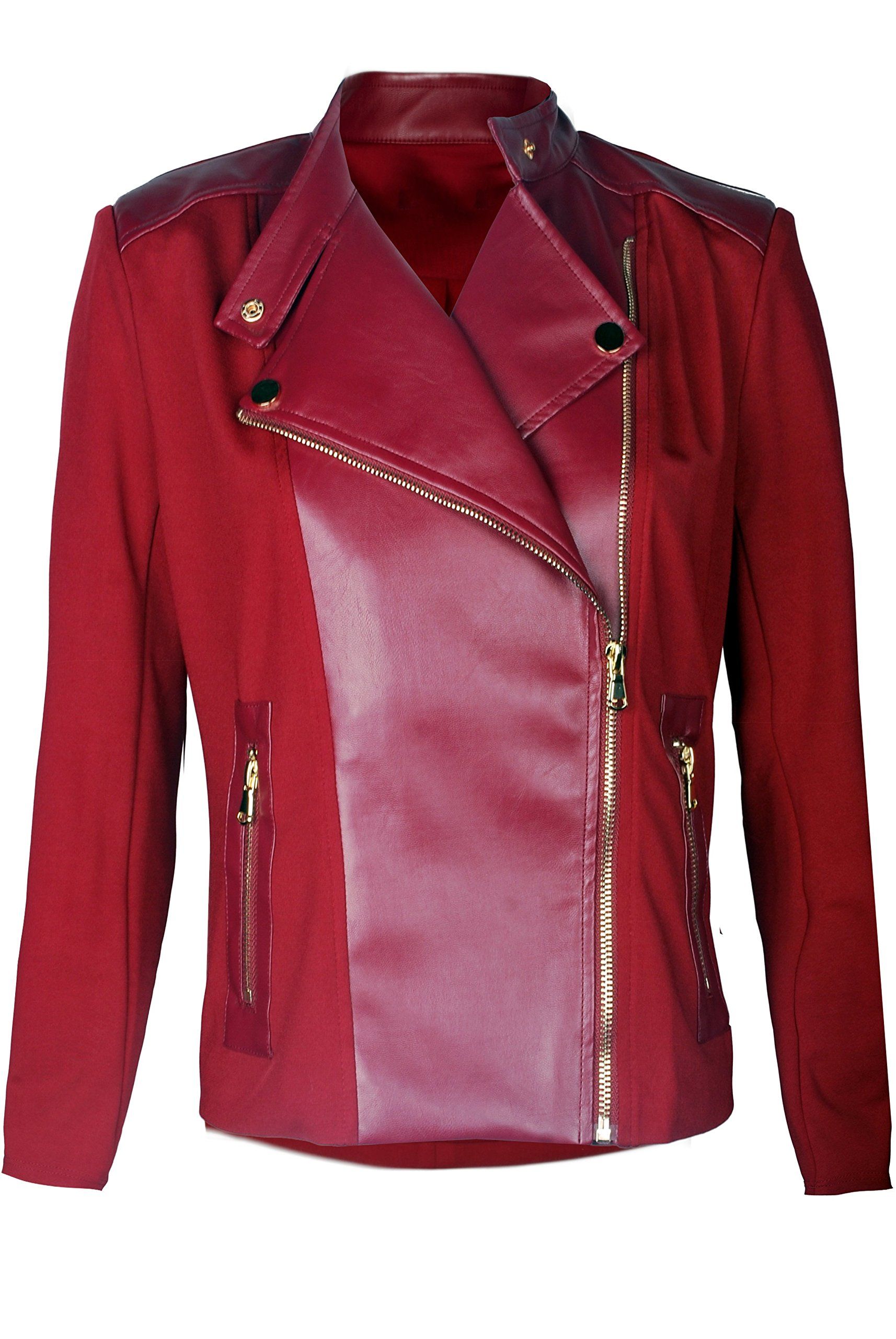 TOP LEGGING TL Women's Classic Zip Up Faux Leather Moto Biker Jacket In Multiple Styles 754_Burgundy L