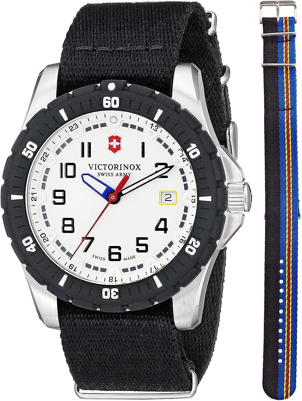 Victorinox Swiss Army Maverick Steel 241676.1 Mens Watch White Dial Nylon NATO Strap