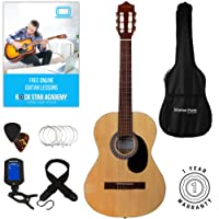 Stretton Payne Classical Guitar Full Size 4/4 (39' inch) Spanish Style Classical Acoustic Guitar Package Nylon Strings. Acoustic Guitar Pack Natural Wood