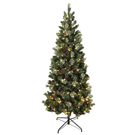 6ft 180cm slim green needle pine artificial pre lit decorated christmas tree