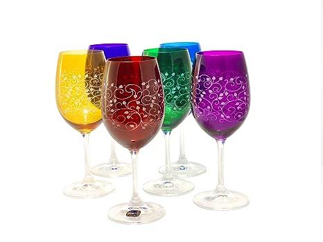 Set Di 6 Bicchieri Da Vino Rosso O Bianco Inciso Leadfree In