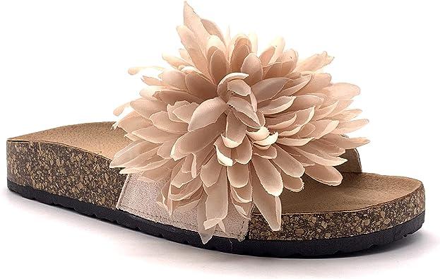 Angkorly Chaussure Mode Tong Mule Plate Romantique De Plage Femme Fleurs Talon Compensé 3 Cm Beige 202 82 T 38 Amazon Fr Chaussures Et Sacs