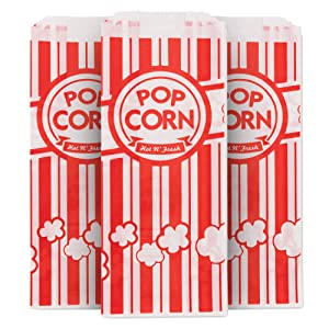 1 Oz Popcorn Bag, Red and White Disposable Carnival Popcorn Bags (500 Count) - Popcorn Bags for Popcorn Machine - Disposable Popcorn Bags for Movie Theaters, Festivals, Concession Stands