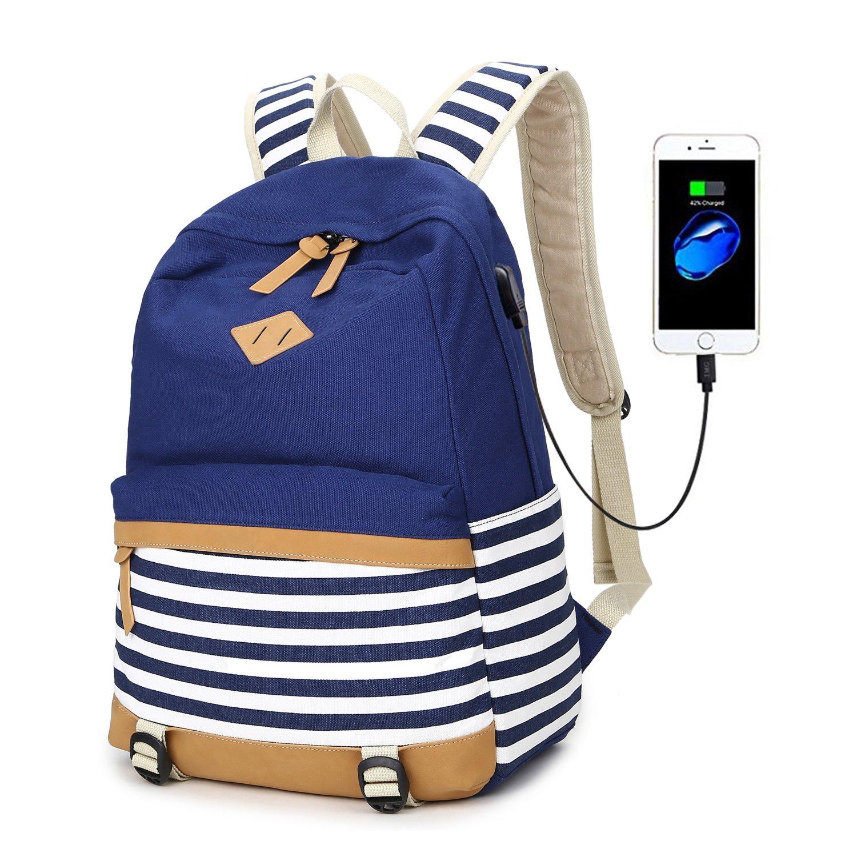 Abshoo Lightweight Canvas Backpacks for Girls School Rucksack Bookbags (USB Navy) ZLSB0133UB02