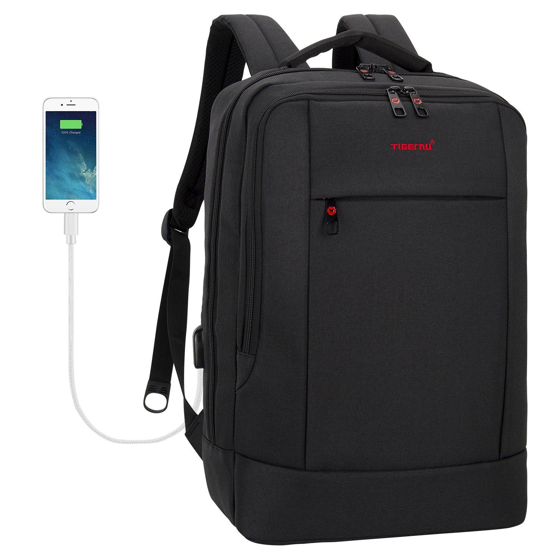 Tigernu Business Laptop Backpack Slim Anti Theft Travel Computer Backpacks Environmentally Waterproof Laptops Bag For Men/Women with USB Charging Port 15.6Inch Black