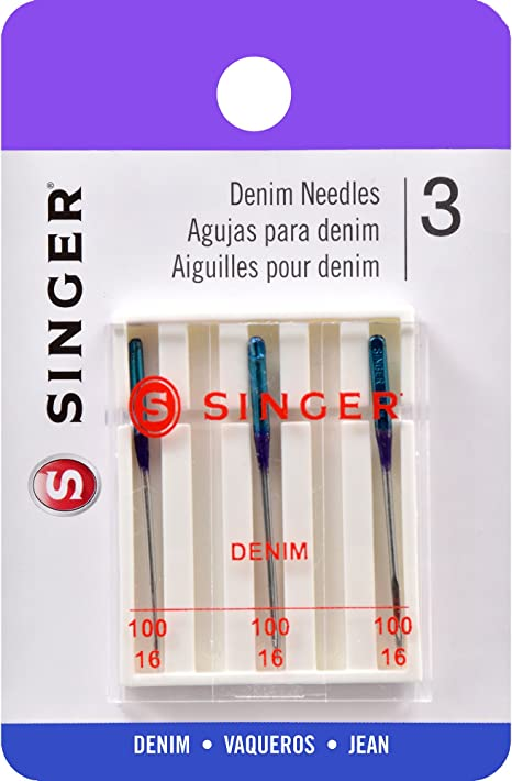 Singer Agujas de máquina de Tela Vaquera, tamaño 100/16, 3 ...
