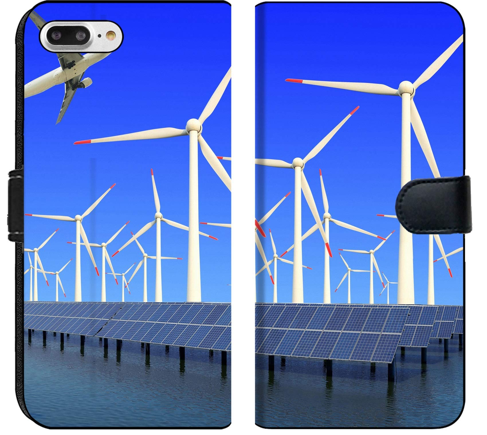 Apple iPhone 7 Plus and iPhone 8 Plus Flip Fabric Wallet Case Image ID 19576484 Aircraft is Flying in eco Power of Wind turbines and Solar Panel at c