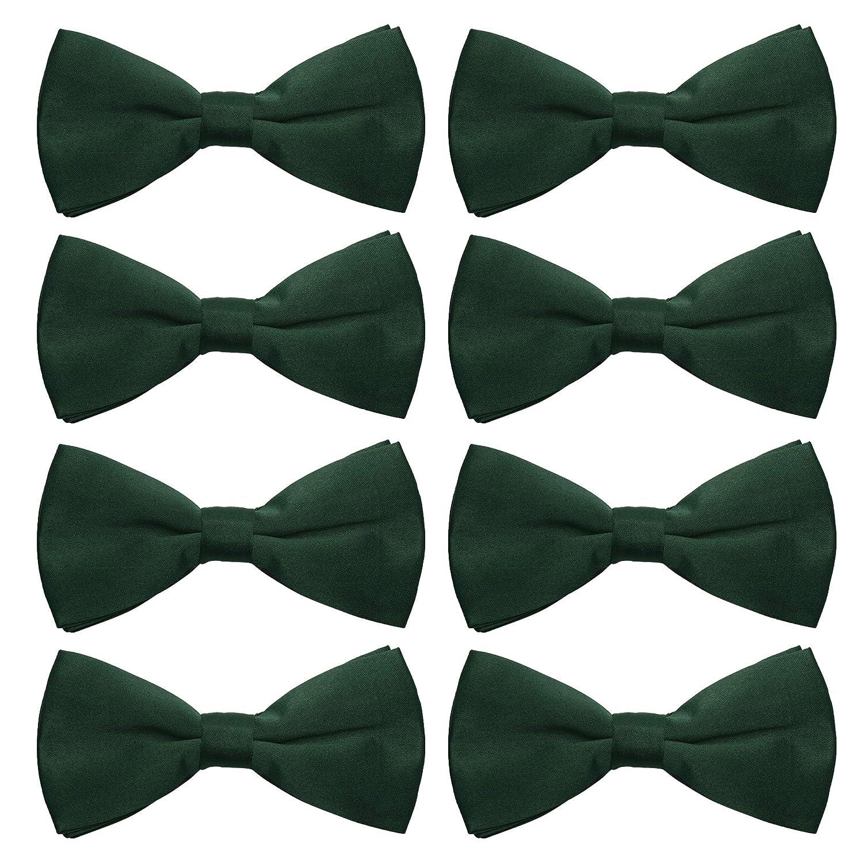 AVANTMEN Men's Bowtie 8 Pack Classic Pre-Tied Satin Formal Tuxedo Bow Tie Adjustable Length Large Variety Colors Available LJ8-BLACK