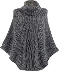 Charleselie94® Poncho Pull Cape Laine alpaga Grosse Maille Hiver 36 48  Grande Taille - 7d9e672b847