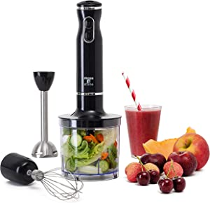 Hand Blender - With Egg Whisk & Chopper, Powerful 300- Watt - Stick Blender, Hand Mixer Set Stainless Steel Shaft & Blades, Handheld Blender With Ergonomic Handle - by Moss And Stone