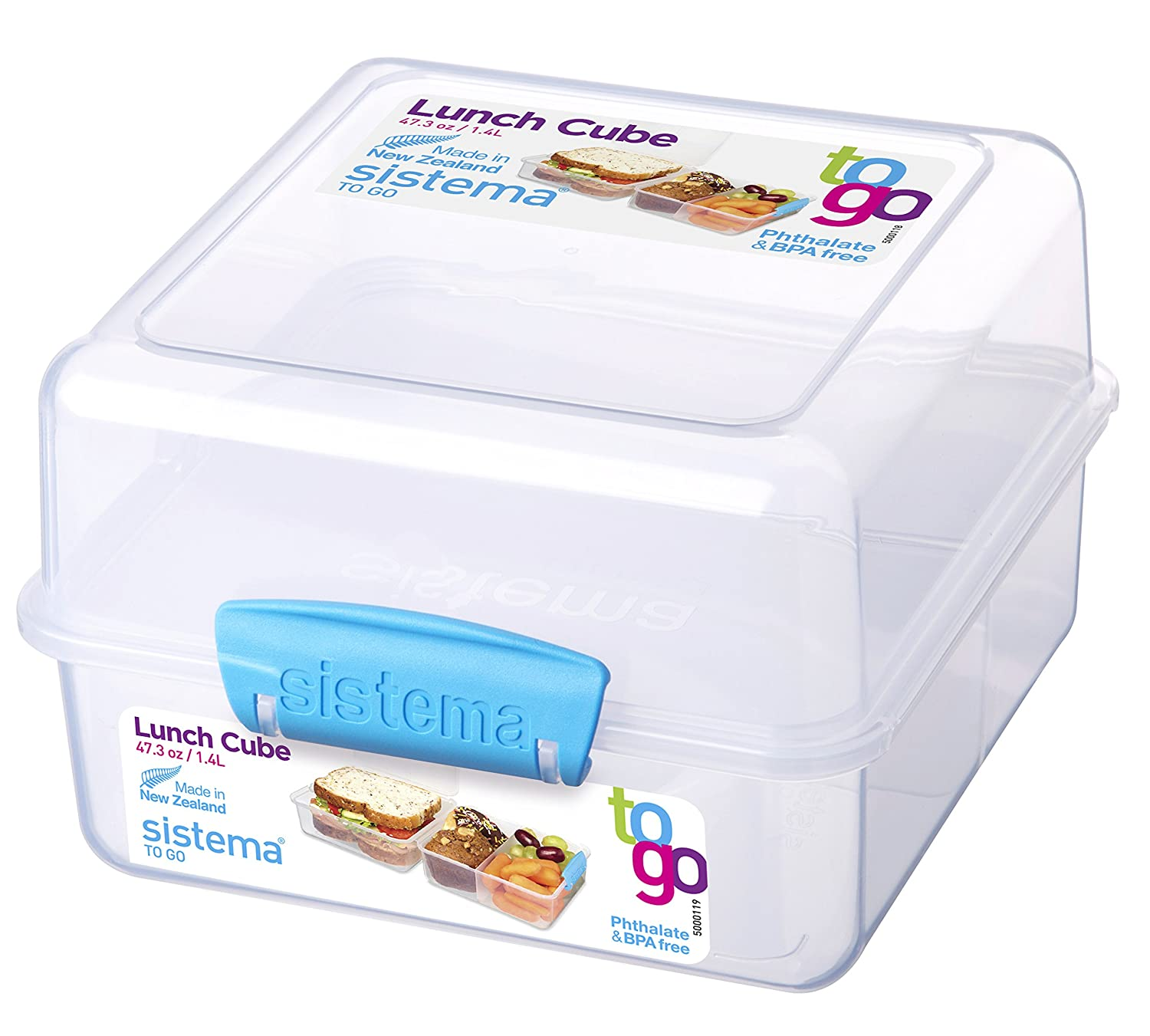 Sistema To Go Collection Lunch Cube Food Storage Container, 47.3 Ounce/ 5.9 Cup, Clear with Assorted Color Accents 21731ZS