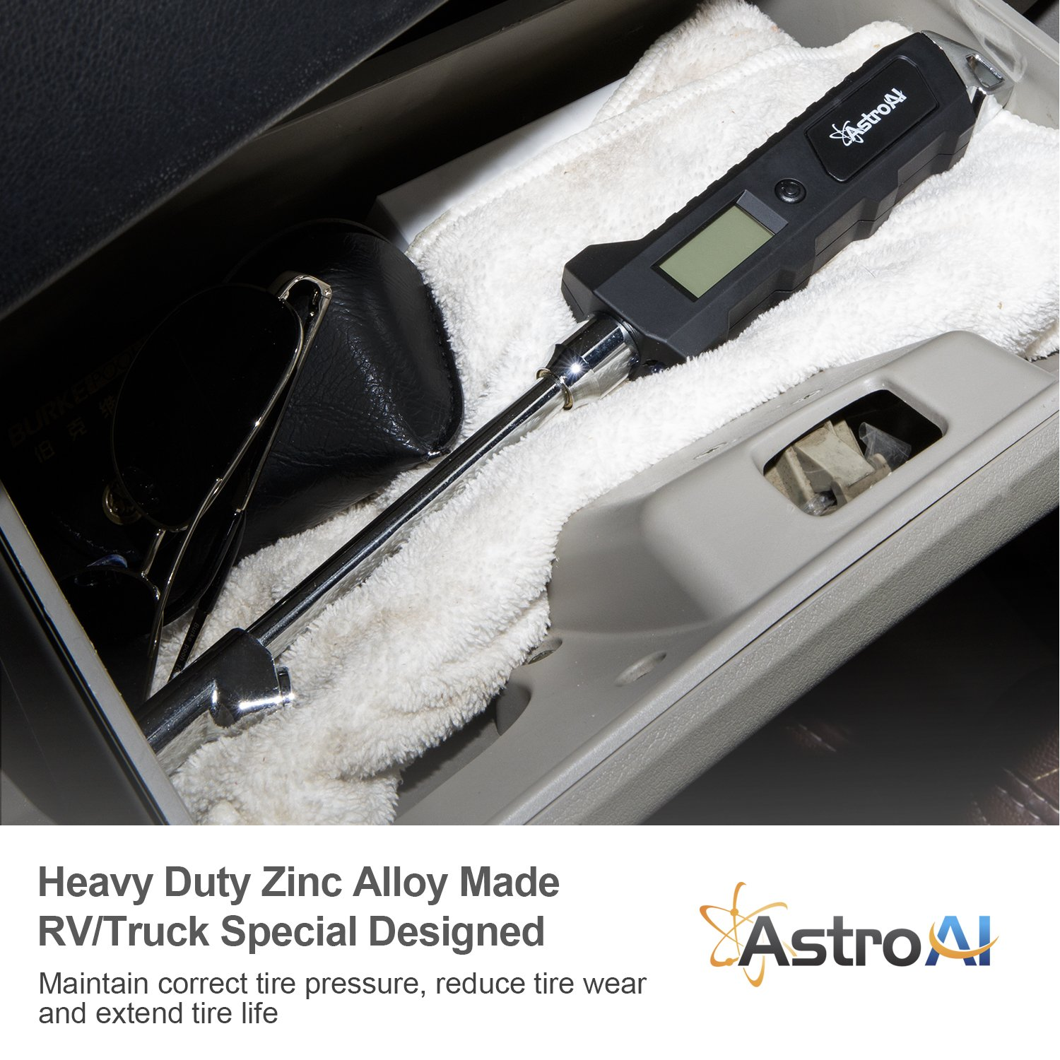 AstroAI ATG230 Digital Tire Pressure Gauge 230 PSI RV Heavy Duty Dual Head Stainless Steel Made for Truck Car with Larger Backlit LCD and Flashlight by AstroAI (Image #4)