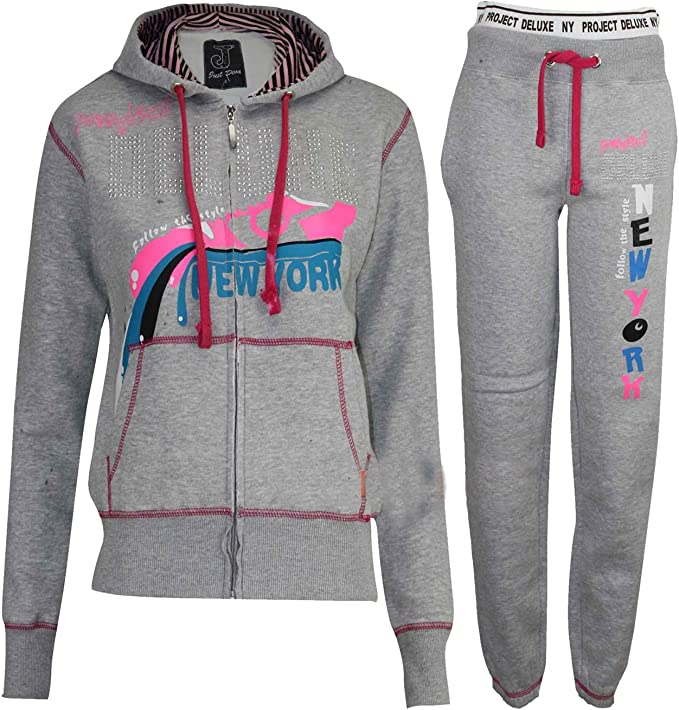 Ladies NY Tracksuit Hoodie Top /& Bottoms S-XL