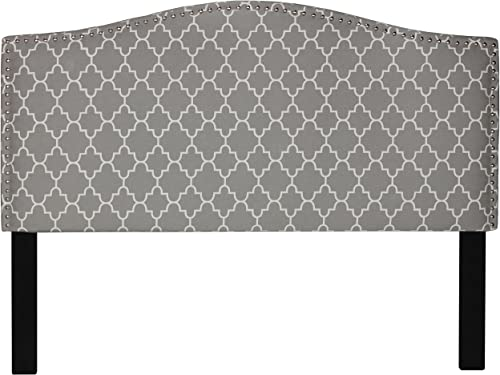 Cortesi Home Lena Upholstered Queen Headboard with Nailhead Trim, Grey